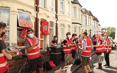 Acorn members in Bristol successfully resisting an eviction during the pandemic.