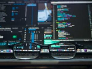 Glasses in front of computer screen