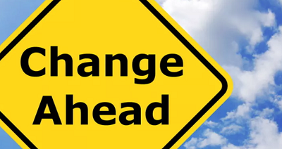 Image of change ahead sign from Shutterstock