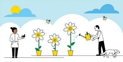 Cartoon image of two people watering daisies