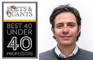 Photo of Dr Alessandro Sancino next to the Poets and Quants logo