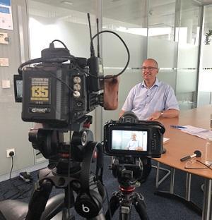 Tillmann filming at Pfizer