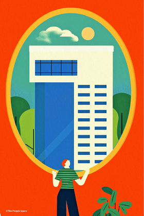 Illustration of cartoon person looking out of a large oval window at a tall building