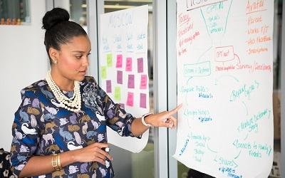 Photo by Christina @ wocintechchat.com - business woman capturing ideas on a giant piece of paper