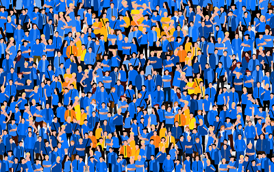 Cartoon people with blue or yellow tshirts making EU flag