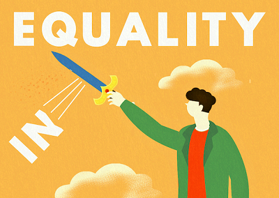 Illustration of cartoon person cutting off the 'in' of inequality with a sword