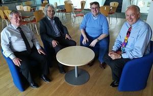 Professor Eddie Abbott-Halpin, Paul Catley (Head of the OU Law School), Professor Chris Newman and Professor Simon Lee